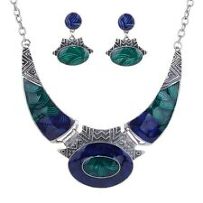 silver plt enamel Statement Bib Chain Chunky Pendant Necklace earrings Jewelry