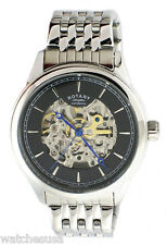 Rotary Mens Black Skeleton Dial Stainless Steel Bracelet Watch GB00162/04
