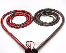 8ft Black and Red Faux Leather Bullwhip Plait Riders Cow Whip Bull Whip handmade