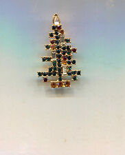 WEISS RHINESTONE CANDLE CHRISTMAS TREE PIN  repro