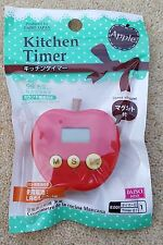 JAPANESE Kitchen Timer Magnetic Back 6.5cm Tall Apple Shaped English Buttons