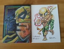 IRONFIST HAND DRAWN COLOUR SKETCH ART CARD BY RAK MARVEL ACEO PSC
