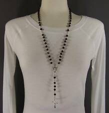"""Dark Brown wood wooden bead beaded rosary silver cross 26"""" long necklace"""