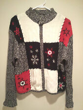 Vintage Tacky Ugly Christmas Sweater - Large Gray Checkered Winning Jumper !!