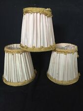 Vintage Antique Set Of 3 Clip On Light Lamp Chandelier shades French Pleated