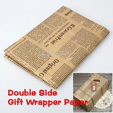 Vintage Gift Wrap Wrapping Packing Paper Newspaper Craft Birthday Christmas xmas
