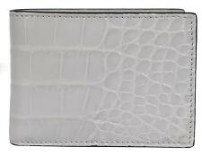 NEW Gucci Men's 233187 $1,750 Light Grey Crocodile Alligator Mini Bifold Wallet