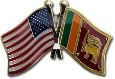 USA - SRI LANKA FRIENDSHIP CROSSED FLAGS LAPEL PIN - NEW - COUNTRY PIN