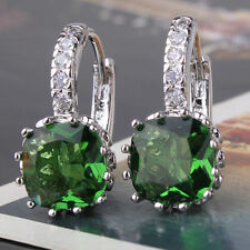 18ct white gold filled princess Emerald crystal leverback earrings drop green