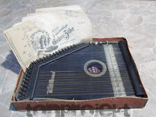 antik WELTRECORD GUITARRE ZITHER mit Schule + 34x Noten Karten Germany ~1900