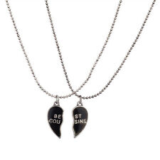Lux Burnish Silver Best Cousins Mood Detachable Heart Necklace Set ( 2 Pc )