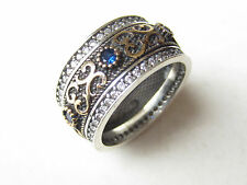 Turkish Hurrem Sultan 925 Sterling Silver Sapphire  Ladies' Band Ring Size 5,5
