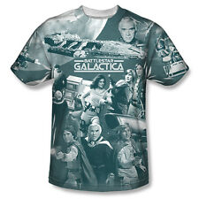 Classic Battlestar Galactica The Battle Has Begun Sublimation Print T-Shirt, NEW