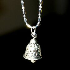 LOVELY TINY TIBETAN SILVER BELL NECKLACE PENDANT #E17 USA MADE ~ FAST SHIPPING!