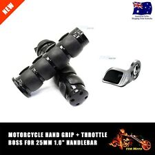 "Black 25mm 1"" Hand Grips & Throttle Boss For Suzuki Boulevard M109R M50 M90 M95"