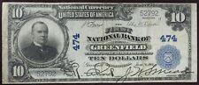 Rare 1902 Greenfield Ma $10 Bill Horseblanket National Currency Banknote Ch 474