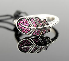 $495 NWT NEW John Hardy Classic Chain Feather Silver Lava Ring Pink Sapphire 7