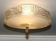 Antique cream glass art deco light fixture ceiling chandelier semi flush 1940s