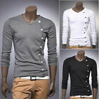 kllmin New Mens Fashion button Casual Slim fit V-neck T shirt tops Tee 3 colors