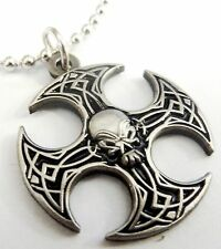 Axe Skull German Iron Cross Harley Biker Military Army Pendant Necklace w/ Chain