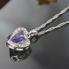 1PC Purple Crystal Pendant Chain Double Heart Necklace Love Valentines Gift