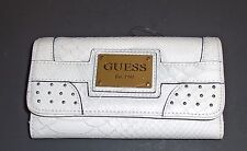 NEW-GUESS CHALK WHITE JACINTHE SLG PYTHON STYLE TEXTURE WALLET CLUTCH