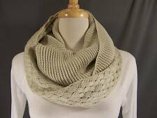 Cream textured knit super soft circle infinity endless loop long scarf crochet