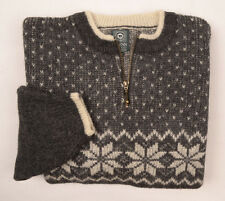 Mens Fair Isle Nordic Fisherman CHUNKY Wool Half zip Jumper Mens Sweater Medium