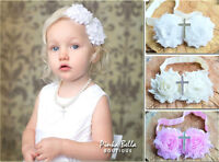 Baby Girl Headband Hairband White Satin Christening Baptism Cross Pearl Flower