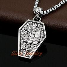 Men's Stainless Steel Skull Egyptian Anubis Ankh Cross Pendant Chain Necklace