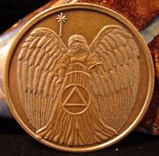 Guardian ANGEL Bronze Alcoholics Anonymous AA Medallion Chip Token Coin Sobrity