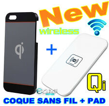 Coque Housse Case Wireless +PAD Qi sans Fil +Cable Chargeur Charger iPhone 5/S
