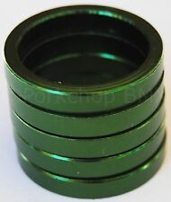 """Bicycle MINI BMX ROAD MTB headset spacers for 1"""" threadless (5 piece) 5mm GREEN"""