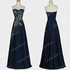 Maxi Dresses PEACOCK Embellished Bridesmaid Evening Party Prom Banquet Gown 6-20