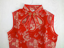 CHINESE QIPAO RED GOLD DRAGON DRESS NEW YEAR PARTY UK 14 16 US 10 EU 40 42 XXXL