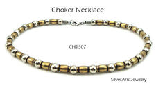 Antique Gold Silver Finish Metal Necklace Choker Men Women Unisex Jewelry