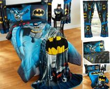 9pc DC Comics BATMAN Full-Double COMFORTER+SHEETS+CURTAINS SET Bed in a Bag Room