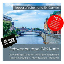 Schweden Topo Karte 20m Höhenlinien 4GB SD Garmin Oregon Colorado Dakota Montana