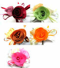 Satin Ribbon Rose Silk Fabric Flower Heads DIY Bridal Wedding Appliques Craft