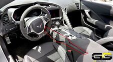 C7 Stingray Z06 Grand Sport Corvette Black Suede Console Trim Panel w/ Stitching