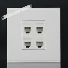 Wall Socket 4 Port Network CAT5 RJ45 & 3 RJ11 Telephone Outlet Panel Faceplate