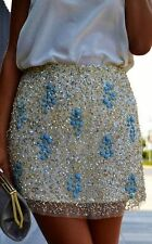 ZARA Gold & Aqua Stone Embroidered Beaded Sequin Sequinned Skirt  SMALL S NEW