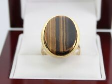 9ct Gold And Tigers Eye Ladies Ring Size O 1/2 375 Ideal Gift O11