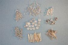 SILVER TONE JEWELLERY MAKING FINDINGS KIT EARRING HEADPINS BEAD CAPS MUCH MORE