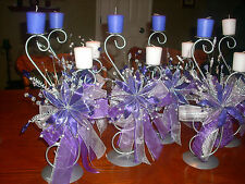 6 Quinceanera Wedding Purple FLOWER Table Center Piece Candle holder Party Decor