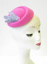 Hot Pink Grey Leopard Print Feather Pillbox Hat Fascinator Rockabilly 1950s 1292