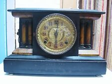 LQQK 1910 Antique WM L Gilbert Mantel Shelf Clock with Key Working Great Details