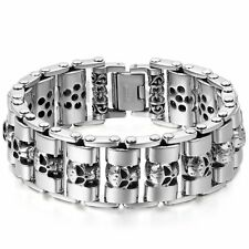 Men's Wide Heavy Stainless Steel Skull Motorcycle Biker Chain Bangle Bracelet