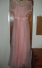 1940's Formal Dress Gown Pink Sheer Chiffon & Lace with Taffeta Slip Puff Sleeve