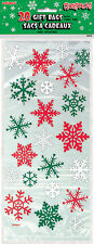 20 x Christmas Snowflakes Cello treat loot Party Bags favour bags red green